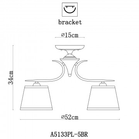 Схема с размерами Arte Lamp A5133PL-5BR
