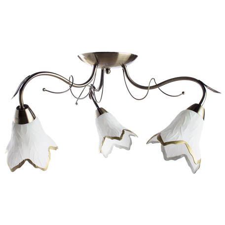 Потолочная люстра Arte Lamp Barbara A6066PL-3AB, 3xE27x60W, бронза, белый, металл, стекло