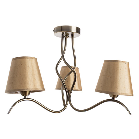 Потолочная люстра Arte Lamp Glorioso A6569PL-3AB, 3xE14x40W, бронза, бежевый, металл, текстиль