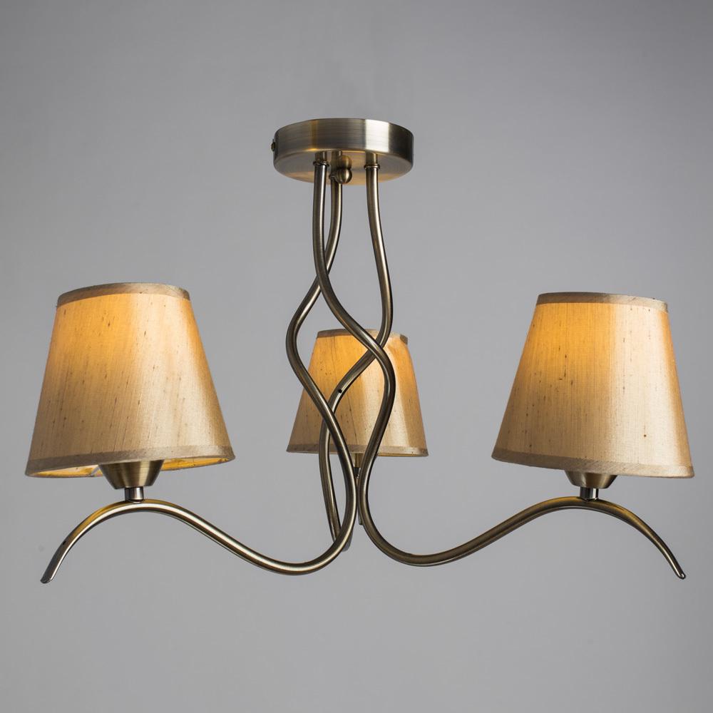 Потолочная люстра Arte Lamp Glorioso A6569PL-3AB, 3xE14x40W, бронза, бежевый, металл, текстиль - фото 2