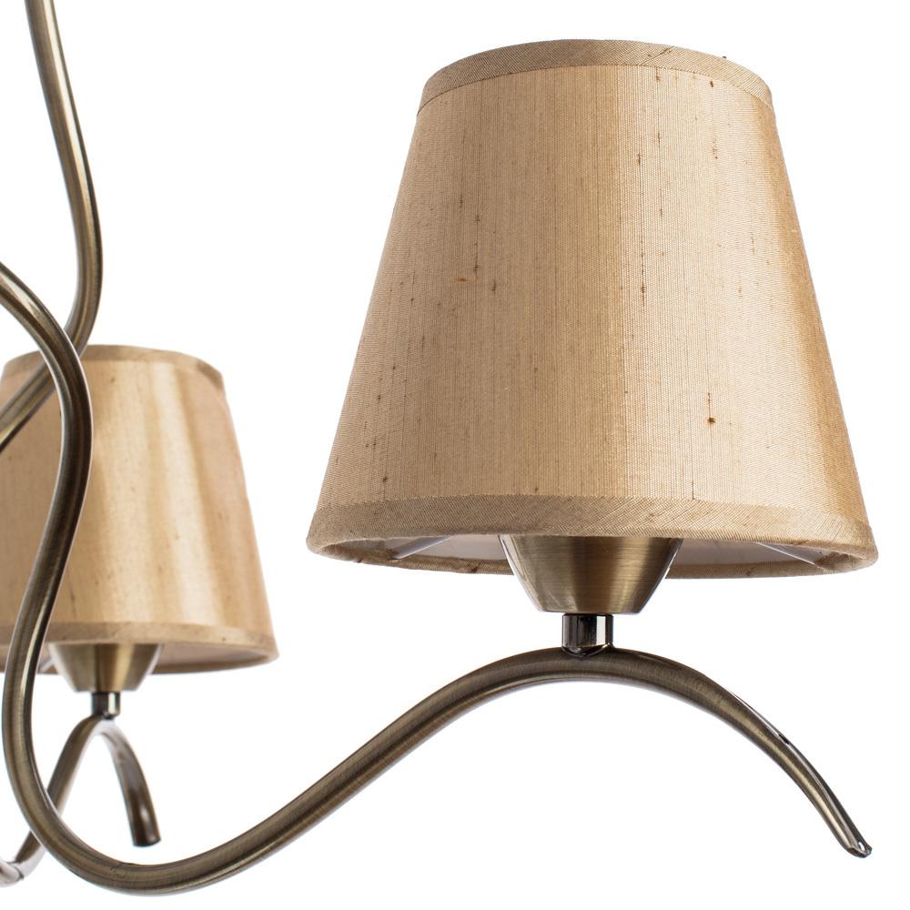 Потолочная люстра Arte Lamp Glorioso A6569PL-3AB, 3xE14x40W, бронза, бежевый, металл, текстиль - фото 3