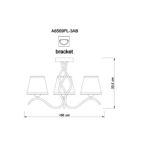 Схема с размерами Arte Lamp A6569PL-3AB
