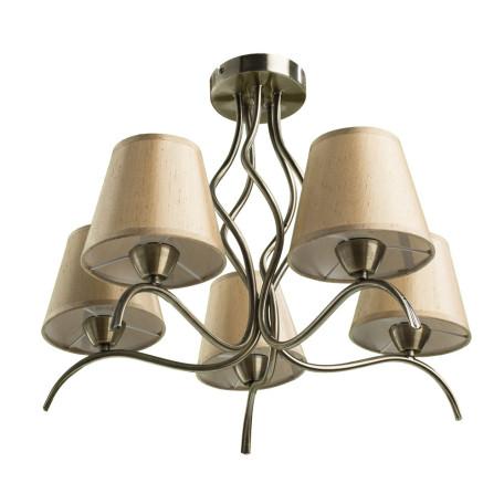 Потолочная люстра Arte Lamp Glorioso A6569PL-5AB, 5xE14x40W, бронза, бежевый, металл, текстиль