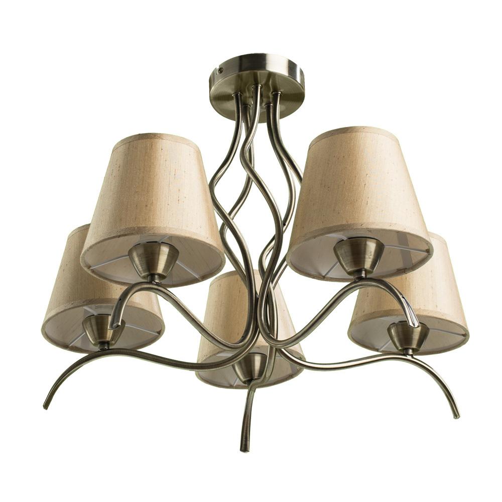 Потолочная люстра Arte Lamp Glorioso A6569PL-5AB, 5xE14x40W, бронза, бежевый, металл, текстиль - фото 1
