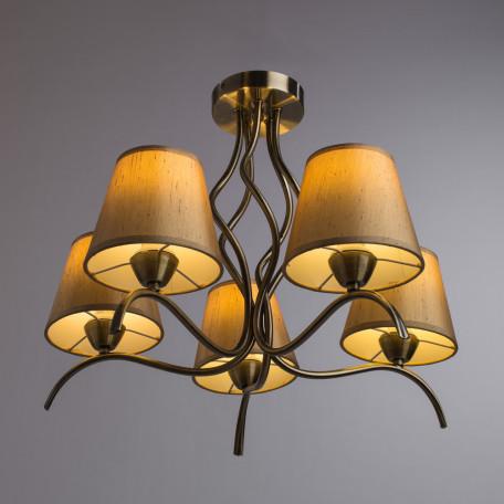 Потолочная люстра Arte Lamp Glorioso A6569PL-5AB, 5xE14x40W, бронза, бежевый, металл, текстиль - миниатюра 2