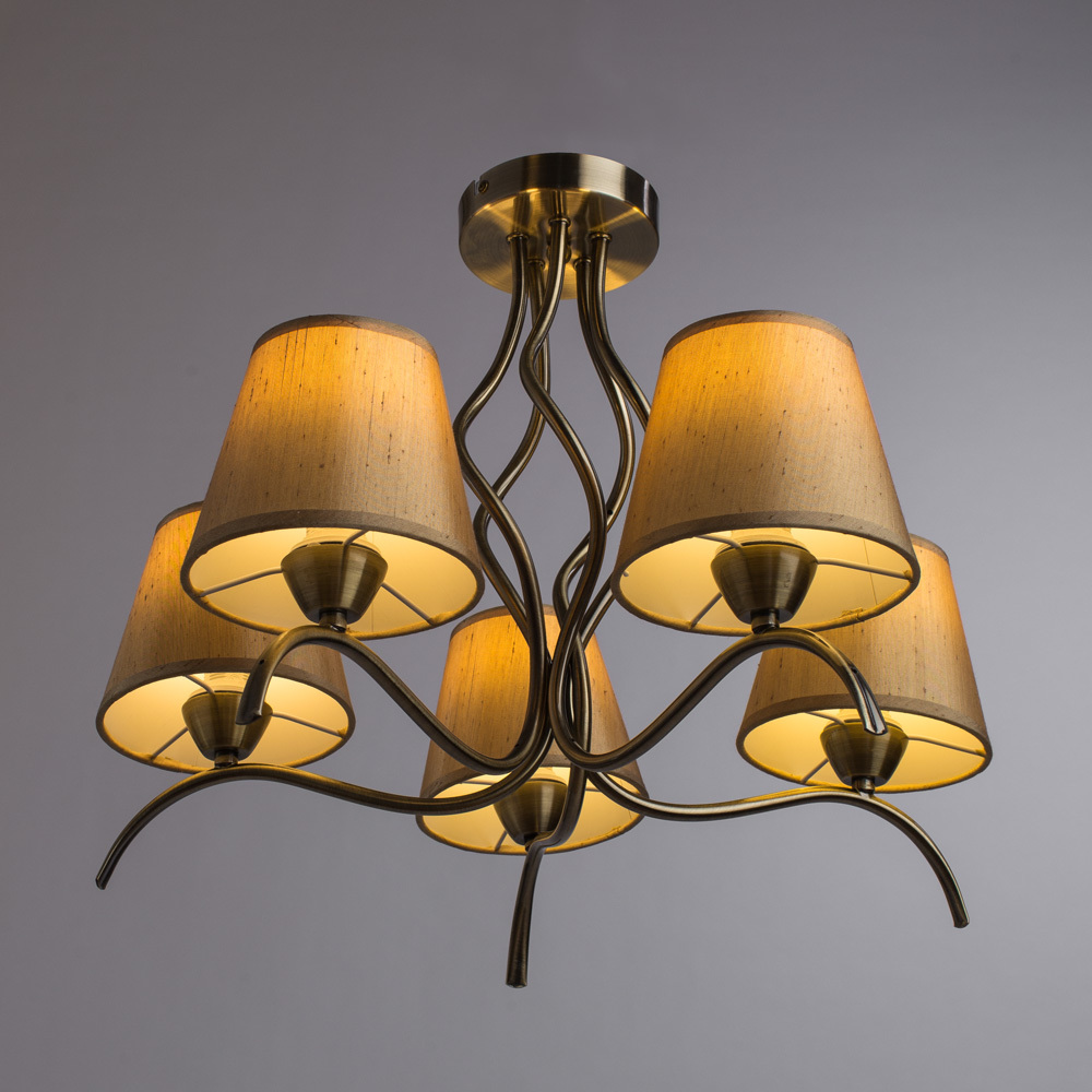 Потолочная люстра Arte Lamp Glorioso A6569PL-5AB, 5xE14x40W, бронза, бежевый, металл, текстиль - фото 2