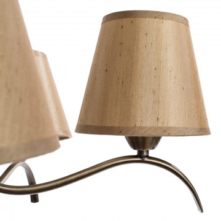 Потолочная люстра Arte Lamp Glorioso A6569PL-5AB, 5xE14x40W, бронза, бежевый, металл, текстиль - миниатюра 4
