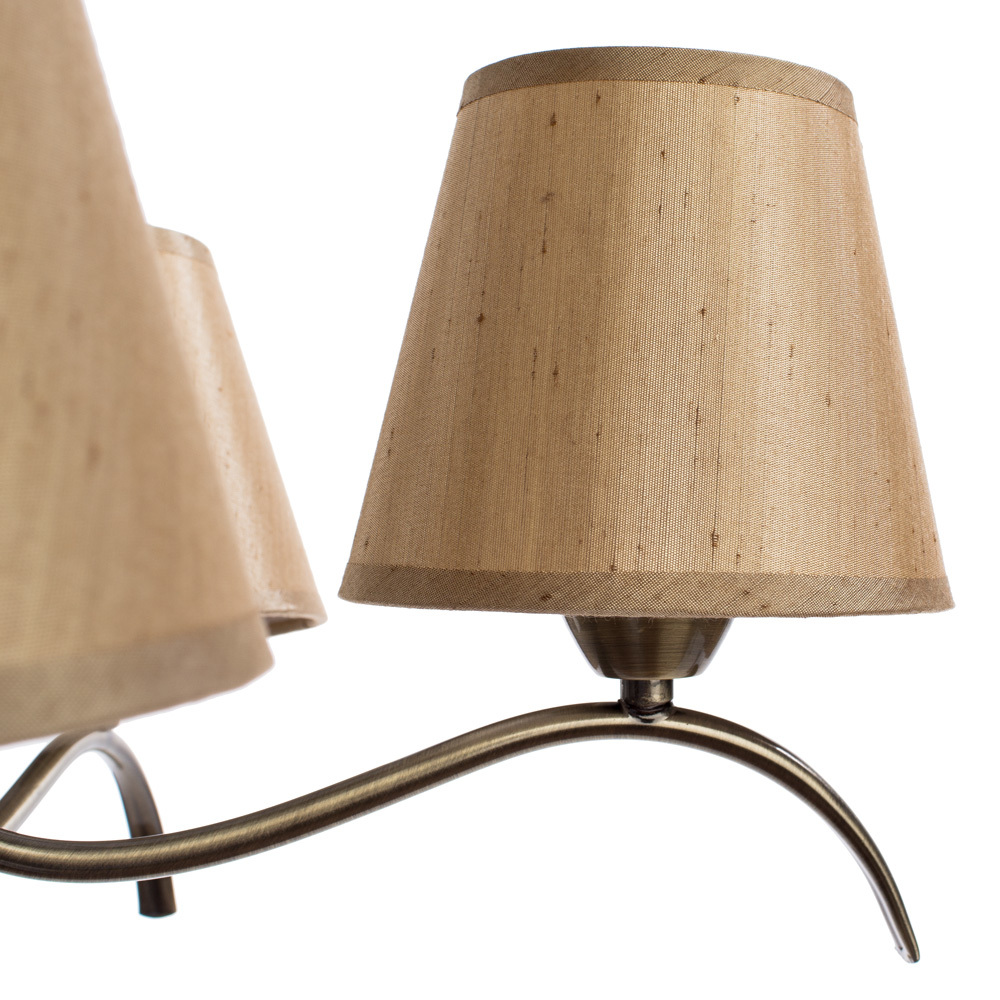 Потолочная люстра Arte Lamp Glorioso A6569PL-5AB, 5xE14x40W, бронза, бежевый, металл, текстиль - фото 4