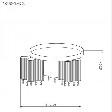 Схема с размерами Arte Lamp A8560PL-3CL