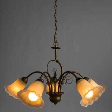 Arte Lamp Mormorio A9361LM-5BR, 5xE27x40W, коричневый, белый, металл, стекло