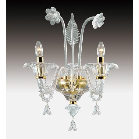 Бра Odeon Light Dita 2795/2W, 2xE14x40W, золото, прозрачный, металл, стекло