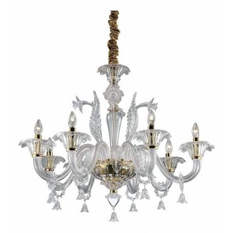Подвесная люстра Odeon Light Dita 2795/8, 8xE14x40W, золото, прозрачный, металл, стекло - миниатюра 1
