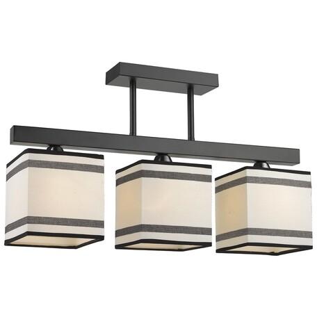 Потолочный светильник Velante 283-027-03, 3xE27x60W, черный, белый, металл, текстиль