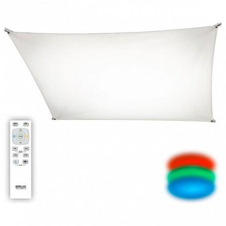 Потолочный светодиодный светильник с пультом ДУ Citilux Сити-Арт CL70111R80, LED 80W 3000K + RGB 6000lm, хром, белый, металл, текстиль