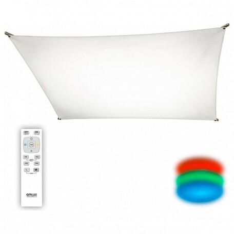 Потолочный светодиодный светильник с пультом ДУ Citilux Сити-Арт CL70113R120, LED 120W 3000K + RGB 9000lm, бронза, белый, металл, текстиль