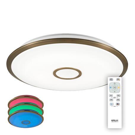 Потолочный светодиодный светильник с пультом ДУ Citilux Старлайт CL703103RGB, IP44, LED 100W 3000-4500K + RGB 6500lm, белый, бронза, металл, металл с пластиком