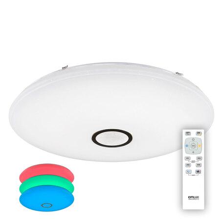 Потолочный светодиодный светильник с пультом ДУ Citilux Старлайт CL703145RGB, IP44, LED 140W 3000-4500K + RGB 9100lm, белый, металл, пластик