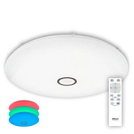 Потолочный светодиодный светильник с пультом ДУ Citilux Старлайт CL703205RGB, IP44, LED 200W 3000-4500K + RGB 13000lm, белый, металл, пластик