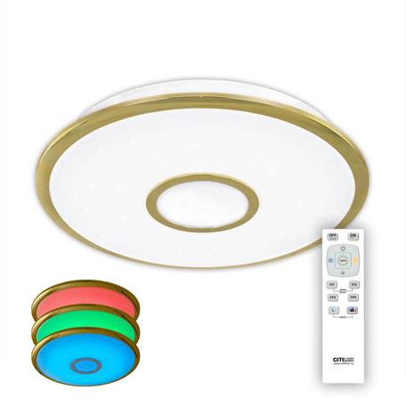 Потолочный светодиодный светильник с пультом ДУ Citilux Старлайт CL70342RGB, IP44, LED 40W 3000-4500K + RGB 2700lm, белый, золото, металл, металл с пластиком
