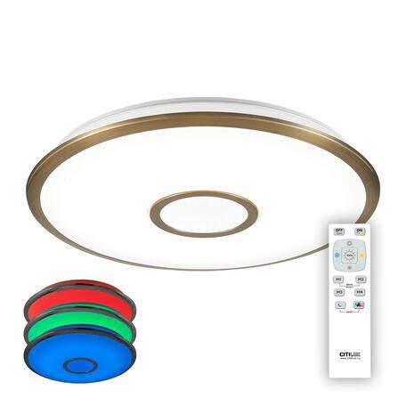 Потолочный светодиодный светильник с пультом ДУ Citilux Старлайт CL70363RGB, IP44, LED 60W 3000-4500K + RGB 4000lm, белый, бронза, металл, металл с пластиком