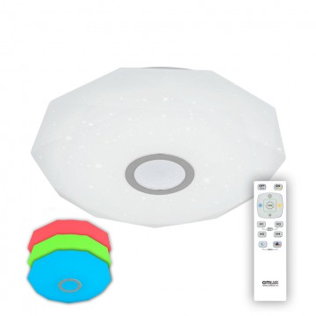 Потолочный светодиодный светильник с пультом ДУ Citilux Диамант CL71340RGB, IP44, LED 40W 3000-4200K + RGB 2600lm, белый, хром, металл, пластик