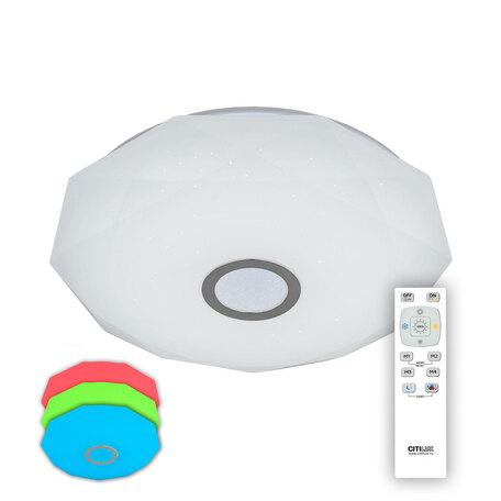 Потолочный светодиодный светильник с пультом ДУ Citilux Диамант CL71360RGB, IP44, LED 60W 3000-4200K + RGB 4000lm, белый, хром, металл, пластик
