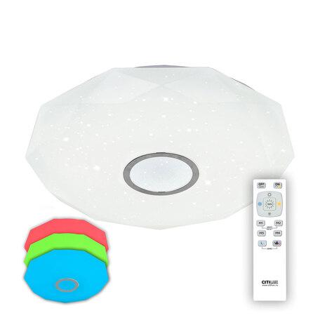 Потолочный светодиодный светильник с пультом ДУ Citilux Диамант CL71380RGB, IP44, LED 80W 3000-4200K + RGB 5300lm, белый, хром, металл, пластик