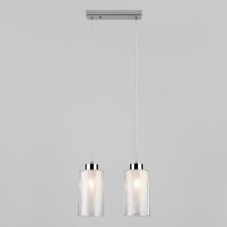 Подвесной светильник Eurosvet Santos 50001/2 хром, 2xE27x60W, хром, белый, металл, стекло