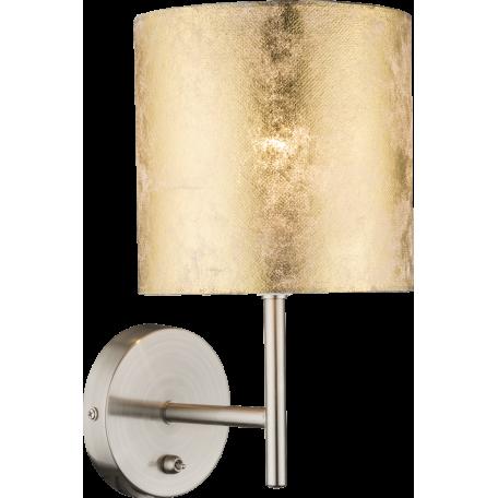 Бра Globo Amy I 15187W, 1xE14x40W, никель, матовое золото, металл, текстиль с пластиком