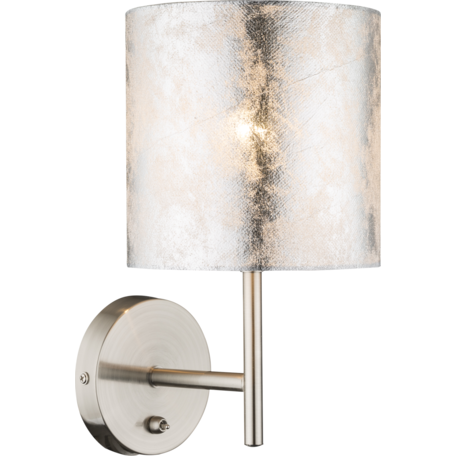 Бра Globo Amy I 15188W, 1xE14x40W, никель, серебро, металл, текстиль с пластиком