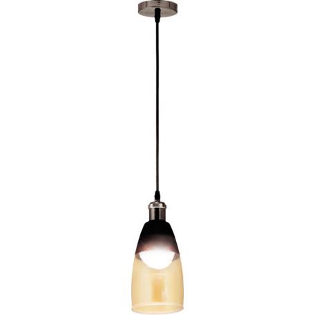 Подвесной светильник Globo Hendrikje 15516, 1xE27x60W, черный, коньячный, металл, стекло