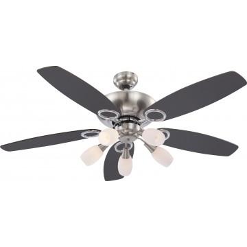 Потолочная люстра-вентилятор Globo Jerry 0337, 5xE14x40W, дерево, металл, стекло