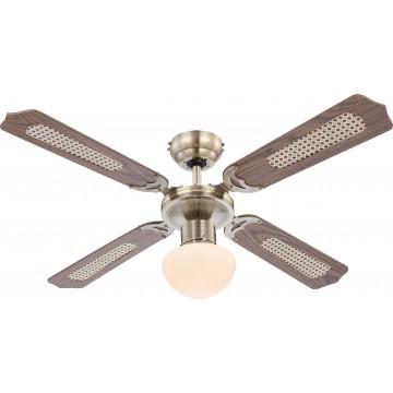 Потолочный светильник-вентилятор Globo Champion 0309, 1xE27x60W, дерево, металл, стекло