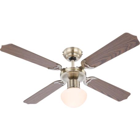 Потолочный светильник-вентилятор Globo Champion 0309, 1xE27x60W, металл, дерево, стекло