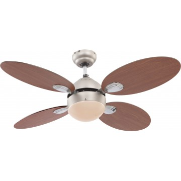 Потолочный светильник-вентилятор Globo Wade 0318, 1xE14x60W, дерево, металл, стекло
