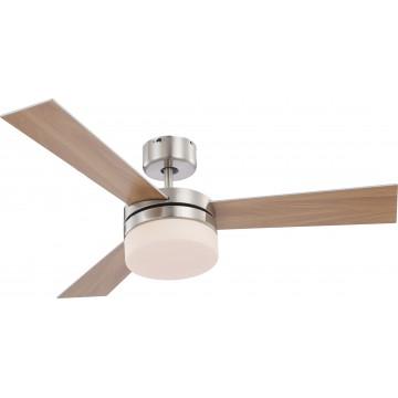 Потолочный светильник-вентилятор с пультом ДУ Globo Alana 0333, 2xE14x40W, дерево, металл, стекло