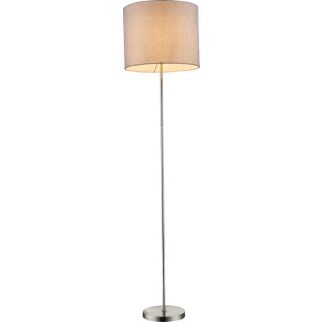 Торшер Globo Paco 15185S, 1xE27x60W, никель, серый, металл, текстиль с пластиком