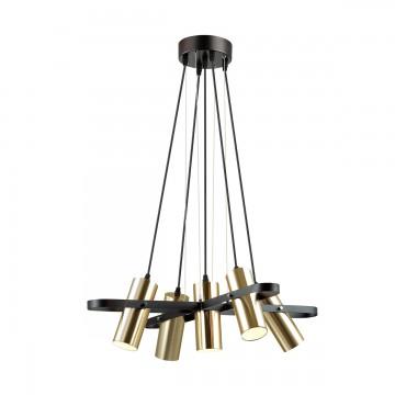 Подвесная люстра с регулировкой направления света Lumion Claire 3714/5A, 5xGU10x5W, черный, матовое золото, металл - миниатюра 1