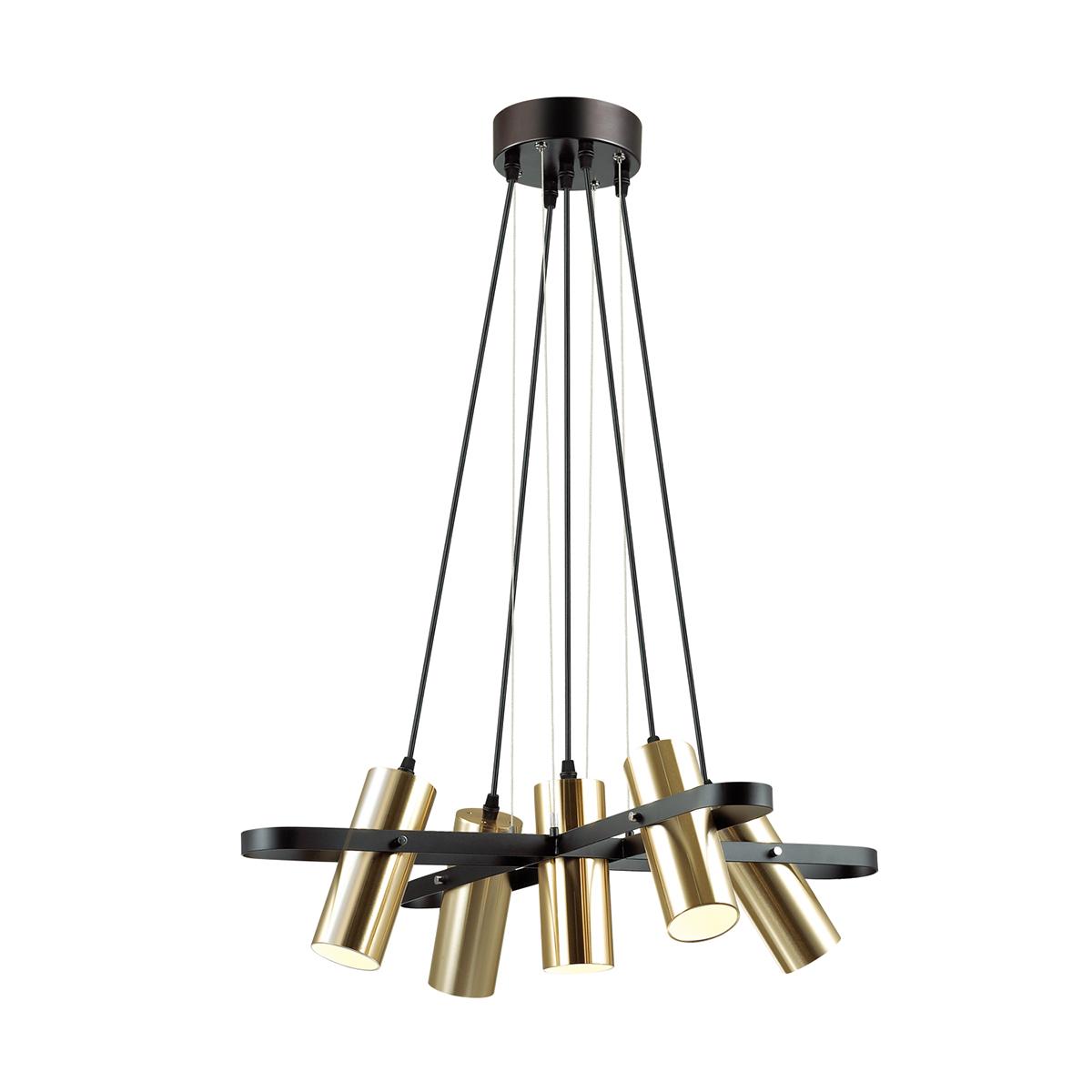 Подвесная люстра с регулировкой направления света Lumion Claire 3714/5A, 5xGU10x5W, черный, матовое золото, металл - фото 1