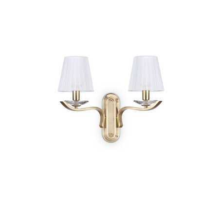 Бра Ideal Lux PEGASO AP2 OTTONE SATINATO 197708, 2xE14x40W, матовое золото, белый, металл с хрусталем, текстиль