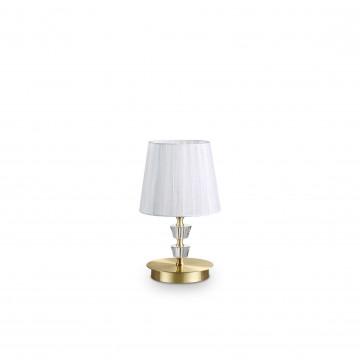 Настольная лампа Ideal Lux PEGASO TL1 SMALL OTTONE SATINATO 197753, 1xE14x40W, матовое золото, белый, металл с хрусталем, текстиль