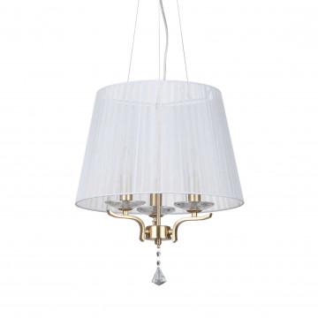 Подвесная люстра Ideal Lux PEGASO SP3 OTTONE SATINATO 197715, 3xE14x40W, матовое золото, белый, прозрачный, металл с хрусталем, текстиль, хрусталь