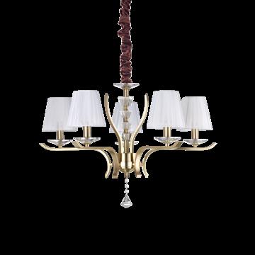 Подвесная люстра Ideal Lux PEGASO SP5 OTTONE SATINATO 197722, 5xE14x40W, матовое золото, белый, прозрачный, металл с хрусталем, текстиль, хрусталь
