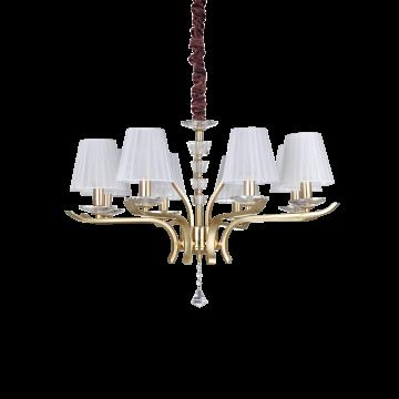Подвесная люстра Ideal Lux PEGASO SP8 OTTONE SATINATO 197739, 8xE14x40W, матовое золото, белый, прозрачный, металл с хрусталем, текстиль, хрусталь