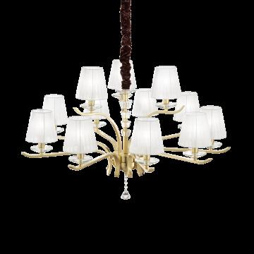 Подвесная люстра Ideal Lux PEGASO SP12 OTTONE SATINATO 197746, 12xE14x40W, матовое золото, белый, прозрачный, металл с хрусталем, текстиль, хрусталь - миниатюра 1