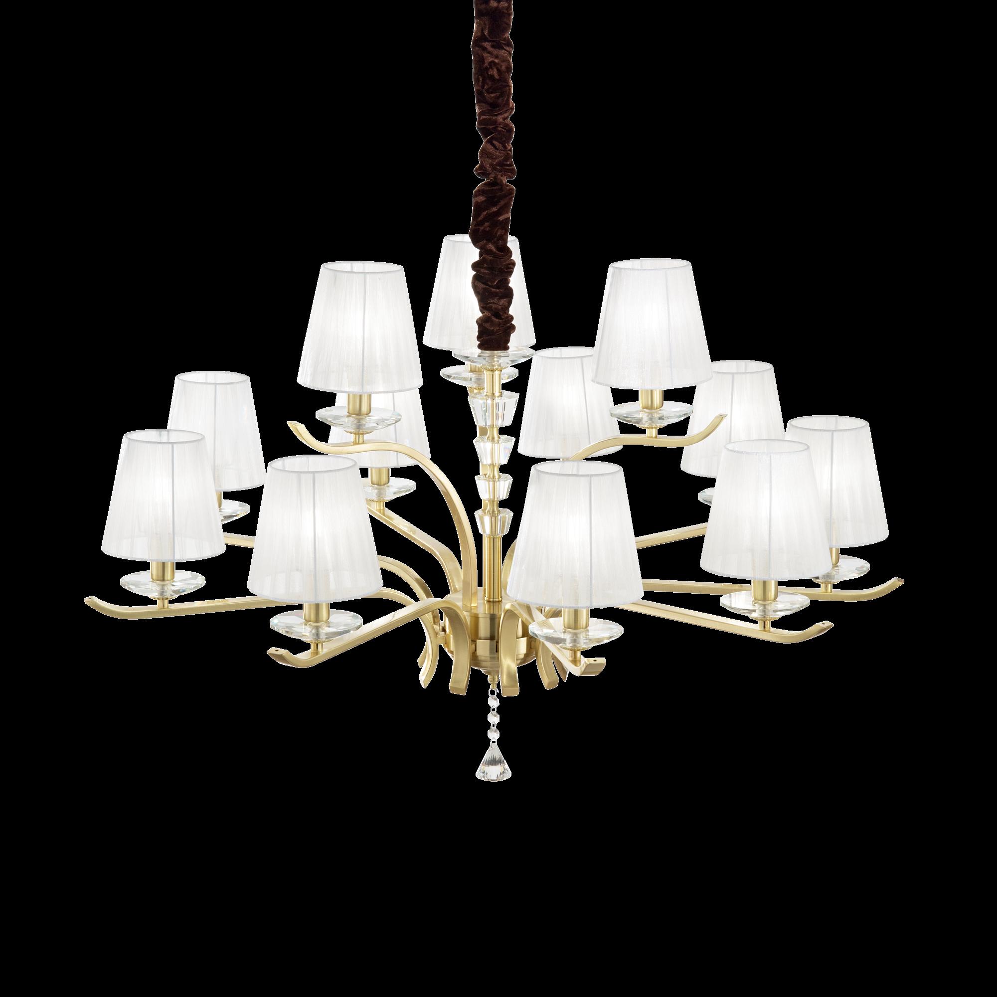Подвесная люстра Ideal Lux PEGASO SP12 OTTONE SATINATO 197746, 12xE14x40W, матовое золото, белый, прозрачный, металл с хрусталем, текстиль, хрусталь - фото 1