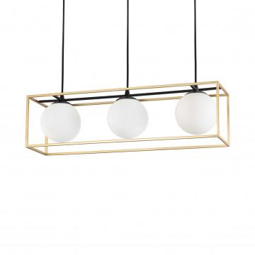 Подвесной светильник Ideal Lux LINGOTTO SP3 198125, 3xE14x40W, черный, белый, матовое золото, металл, металл со стеклом
