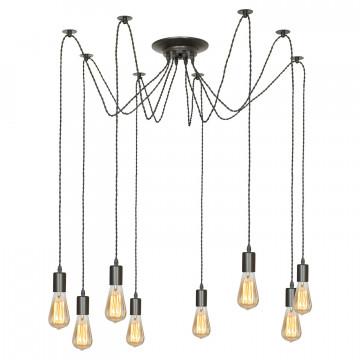 Люстра-паук Lussole Loft Shirley LSP-9840, IP21, 8xE27x60W, черный, металл