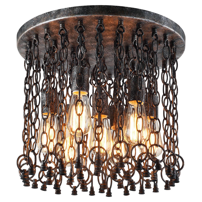 Потолочная люстра Lussole Loft Selden LSP-9800, IP21, 7xE27x60W, коричневый, металл - фото 1