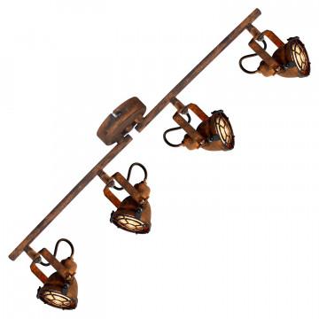 Потолочный светильник с регулировкой направления света Lussole Loft Rockville LSP-9803, IP21, 4xGU10x50W, коричневый, металл